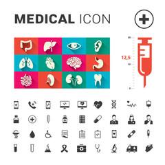Medical human organs and medical icon set with big syringe