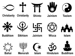 black religious symbols icons set