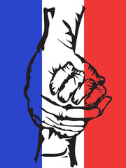 hands holding solidarity france background