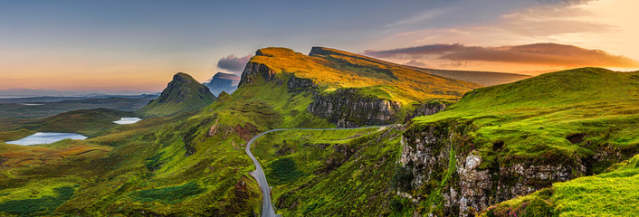 Quiraing mountains sunset at Isle of Skye, Scottland, United Kingdom Wall mural