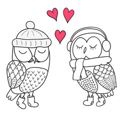 Two cute Owls fall in love. Doodle vector illustration