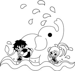 The boy and girl who swims in the river with an elephant.
