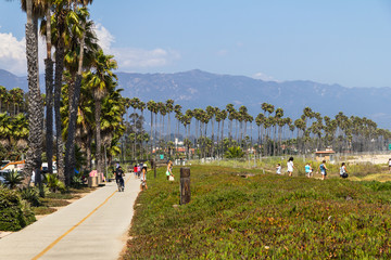Promenade with palm trees in Santa Barbara