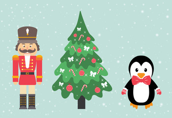 penguin and nutcracker and fir-tree