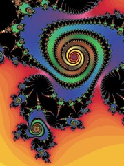 Abstraction fractal spiral in a bright colors