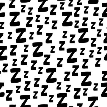 Seamless pattern with cartoon letters z