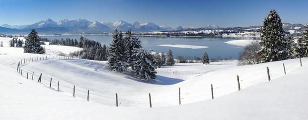 Wall Mural - Panorama Winterlandschaft in Bayern im Allgäu