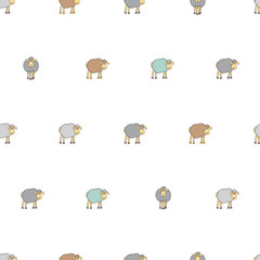 Seamless pattern with cartoon sheep
