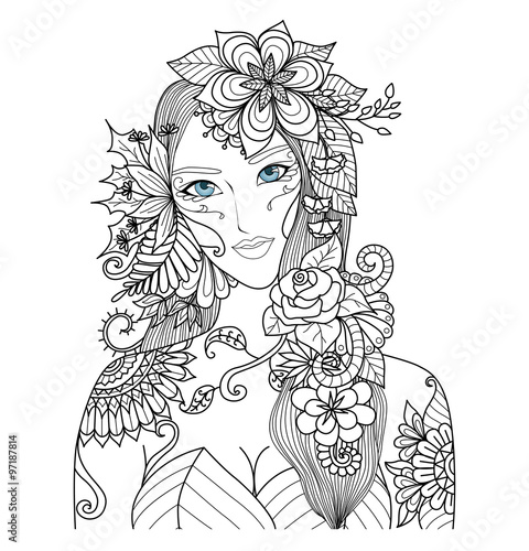 Forest Fairy With Beautiful Flowers For Coloring Book Adult