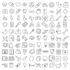 One hundred thin line icons set