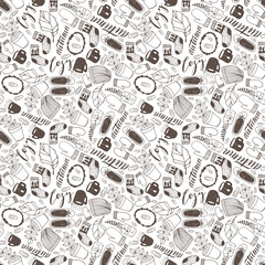 Seamless hand drawn doodle autumn cozy fall seamless pattern.