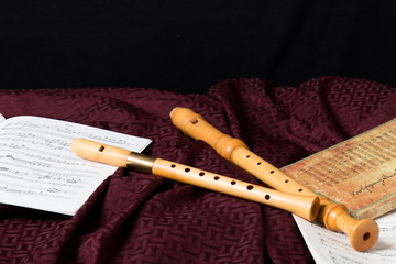 Recorder and music notes