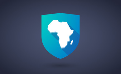 Long shadow shield icon with  a map of the african continent