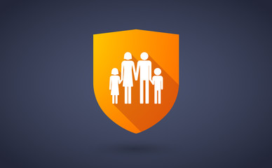 Long shadow shield icon with a conventional family pictogram