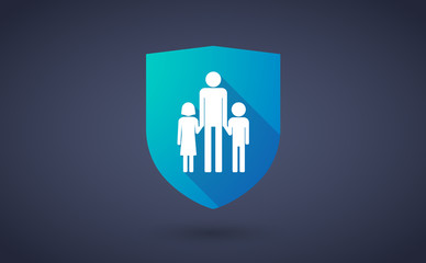 Long shadow shield icon with a male single parent family pictogr