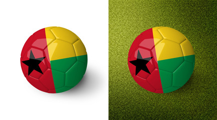 3d realistic soccer ball with the flag of Guinea Bissau on it isolated on white background and on green soccer field. See whole set for other countries.