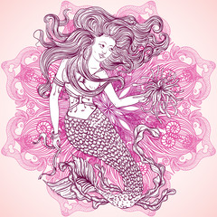 Mermaid with beautiful hair and marine plants  over ornate mandala round pattern. Tattoo art. Retro banner, invitation,card, t-shirt, bag, postcard, poster.Vintage hand drawn vector illustration