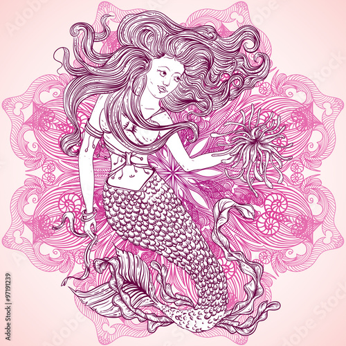 Mermaid with beautiful hair and marine plants over ornate mandala mermaid with beautiful hair and marine plants over ornate mandala round pattern tattoo art stopboris