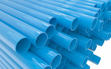 Tubes PVC pipes isolated on white background