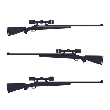 Hunting rifle with optical sight, sniper rifle, vector illustration