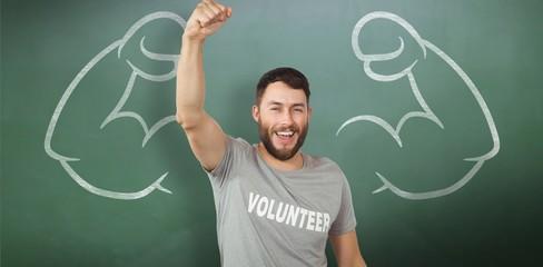 Composite image of portrait of cheerful volunteer