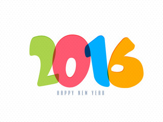 Colorful text 2016 for Happy New Year.