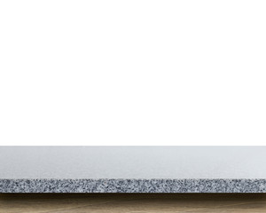 Empty top of granite stone table isolated on white background