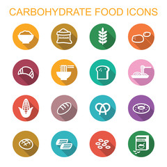 carbohydrate food long shadow icons