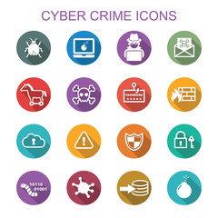 cyber crime long shadow icons