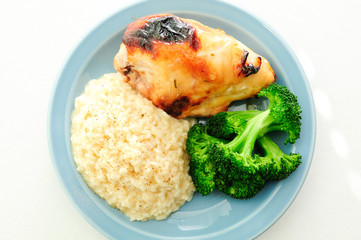 honey glazed bbq chicken breast with creamy risotto