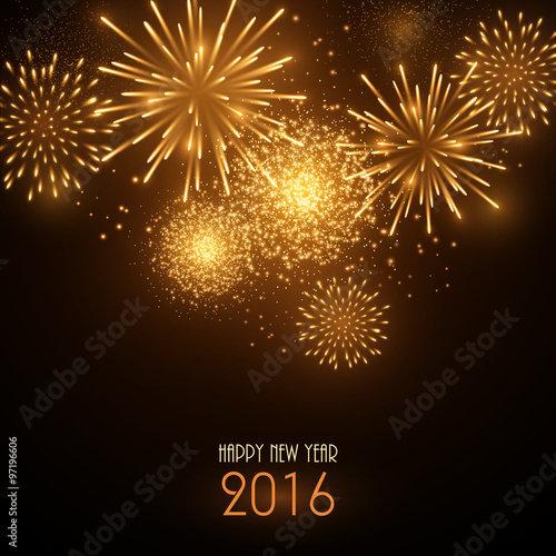 Colorful fireworks on black background. New Year greeting card ...