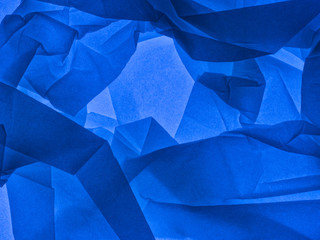 Blue abstract background. Backlit tissue paper. Wall mural