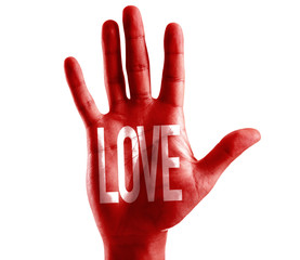 Love written on hand isolated on white background