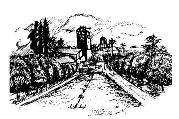 drawing of the garden and Alcazar Alcazar in Cordoba, Andalucia hand drawn sketch vector illustration