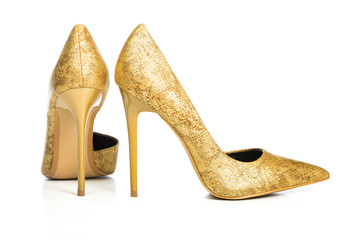 Stiletto high heels shoes in golden animal print design