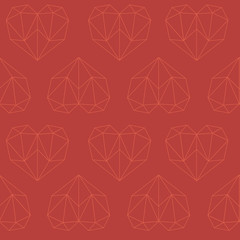 Christmas amazing seamless outline heart red pattern