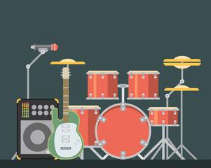 Musical instruments. Vector flat illustration