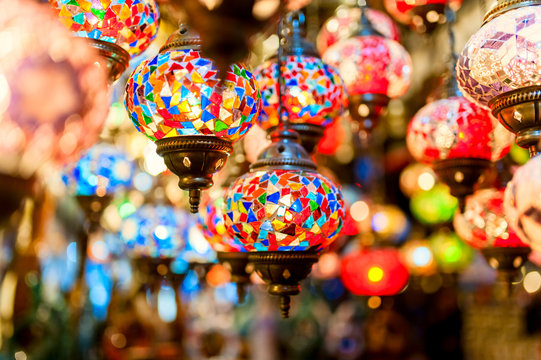 Traditional vintage Turkish lamps in the Grand bazaar in Istanbu