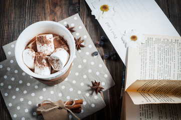 Hot chocolate drink with marshmallow and a book