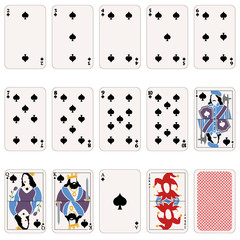 Vector Set of Spade Suit Playing Cards