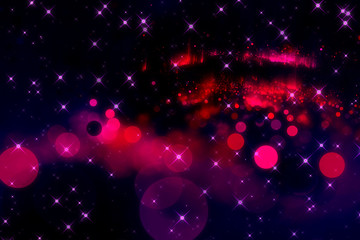 Abstract background red bokeh circles. Beautiful background with purple stars