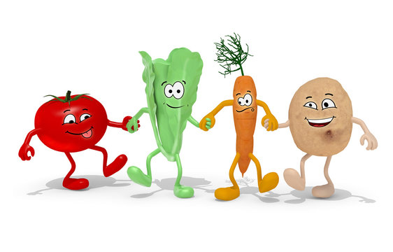tomato, lettuce, carrot and potato hand in hand