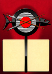 Sushi Food - Empty Banner for Menu / Template for a Sushi menu with yellow empty pages and a symbol in the shape of a fish with wooden and silver chopsticks. On a red background