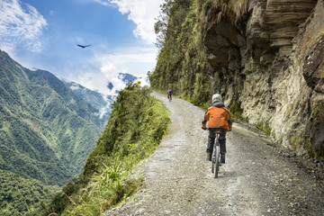 Adventure travel downhill biking road of death