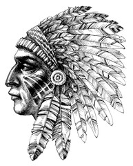 Native american indian warrior profile with war headdress, t-shi
