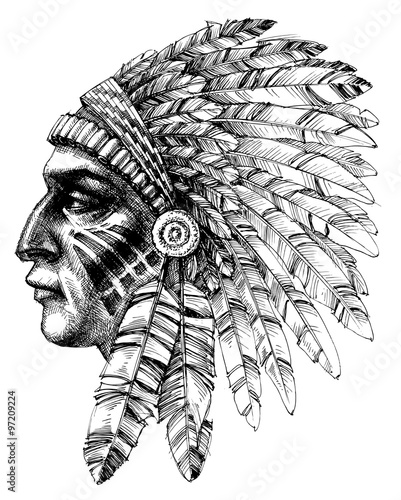 native american indian warrior profile with war headdress t shi stock image and royalty free. Black Bedroom Furniture Sets. Home Design Ideas