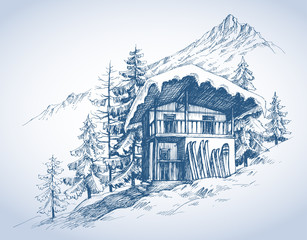 Ski hut in mountains resort
