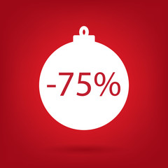 christmas sale sticker tag, 75 percent discount