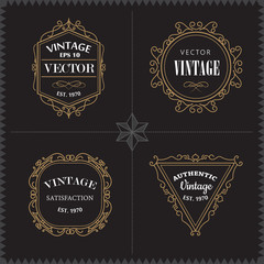 Luxury Logos Set template vintage badge frame flourishes elegant