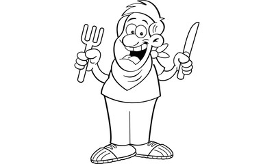 Black and white illustration of a hungry man holding a knife and fork.